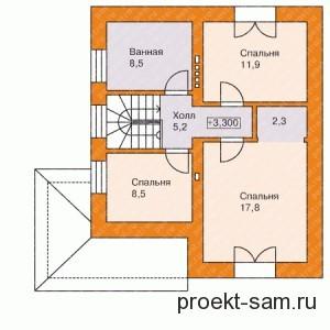 схема двухэтажного дома - все спальни на втором этаже