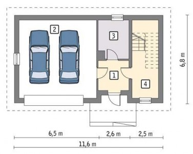 схема гаража на 2 машины