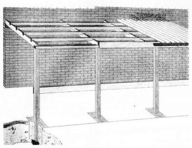 чертеж каркасного гаража, пристраиваемого к дому