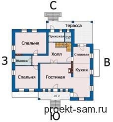 схема расположения комнат одноэтажного дома по сторонам света
