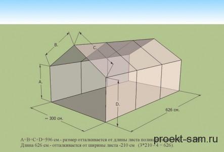 схема возведения каркаса для теплицы из поликарбоната