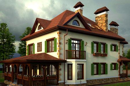 штукатурка двухэтажного дома