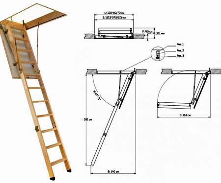 чертеж складной лестницы