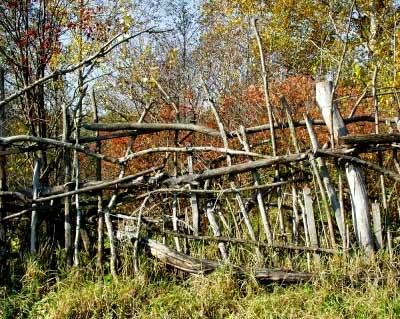 сломанный плетенный забор