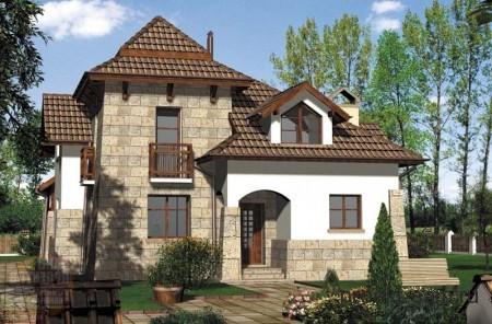 сложный проект кирпичного большого дома