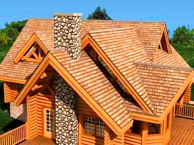 сложная двускатная крыша дома