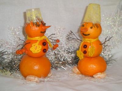 снеговики из апельсинов