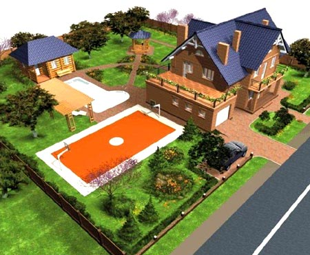 план участка дом баня
