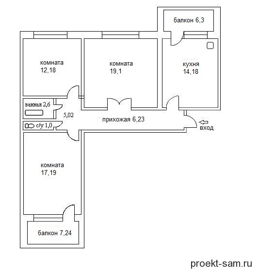 современная планировка трехкомнатной квартиры