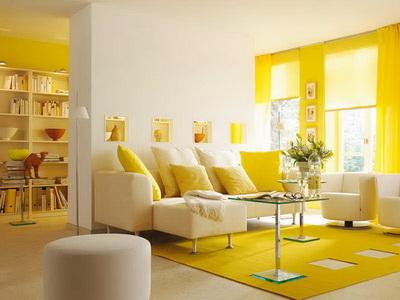 внутренний интерьер дома в желтых тонах