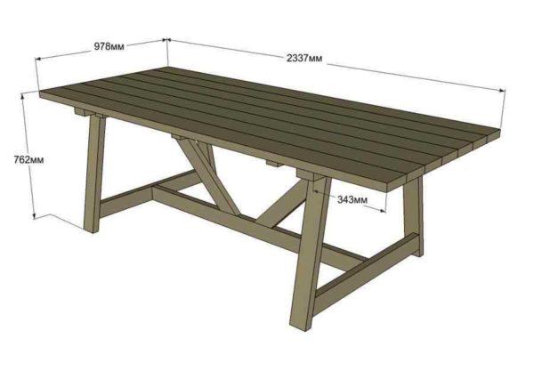 Большой стол с размерами