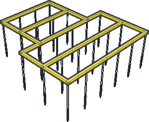схема свайного фундамента с обвязкой