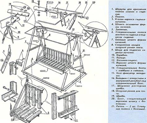 схема постройки садовых качелей