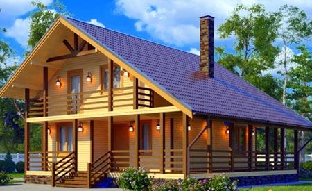 Storey Rahmen Haus Mit Einem Dachboden Und Einer Terrasse