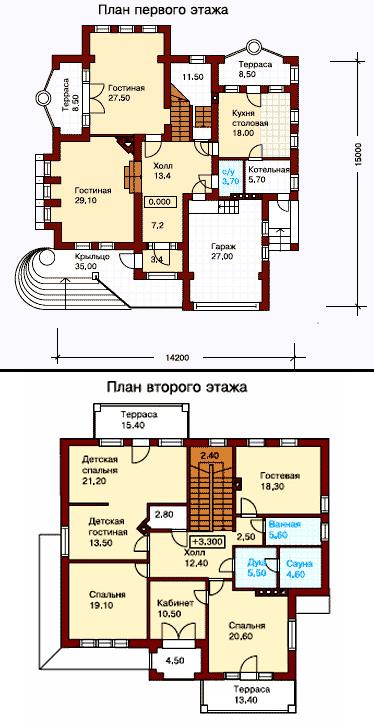 планировка дома 14х15
