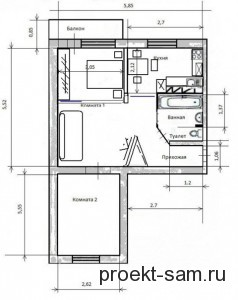 типовая планировка 2-х комнатной квартиры
