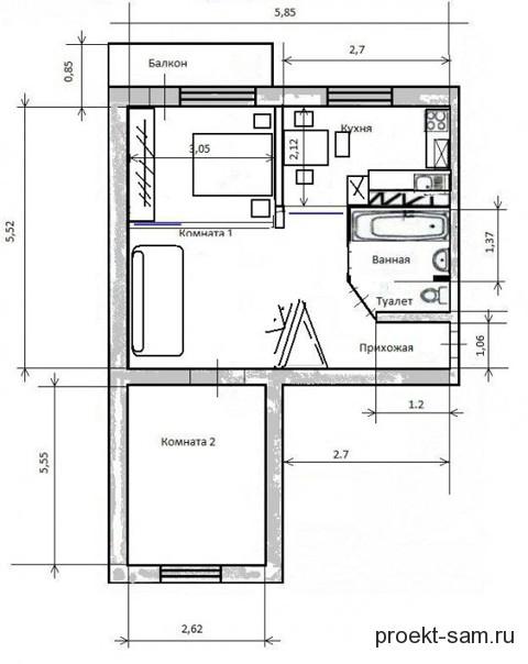 Планировка двухкомнатной квартиры - готовые схемы и планы с .