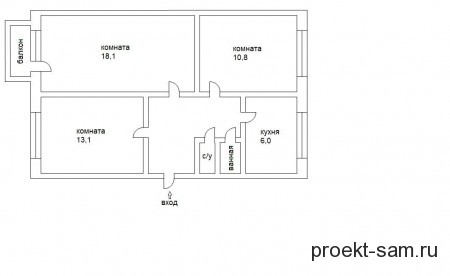 типовая планировка трехкомнатной квартиры в хрущевке