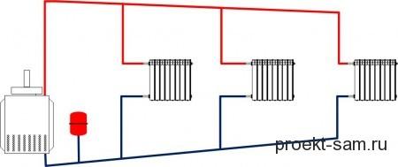 типовая схема отопления дома с естественной циркуляцией