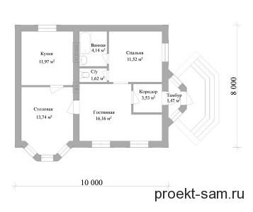 типовой проект одноэтажного дома 10x8