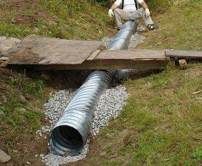 укладка трубы в канаву