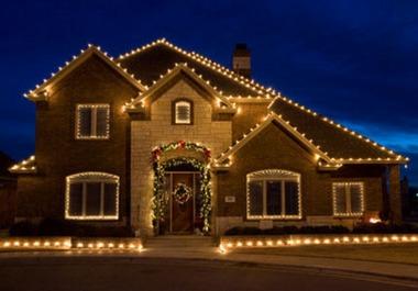 украшение частного дома на Новый год