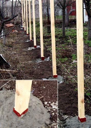 бетонирование деревянных столбов