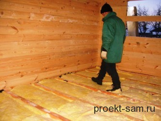утепление пола в деревянном доме минеральной ватой