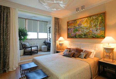 балкон совмещен со спальной комнатой