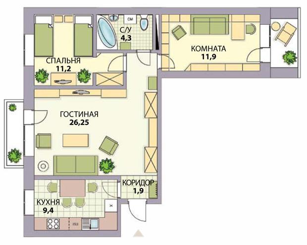 несколько как правильно сделать планировку в квартире 65 кв нет никаких возможностей