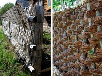 варианты плетенных заборов