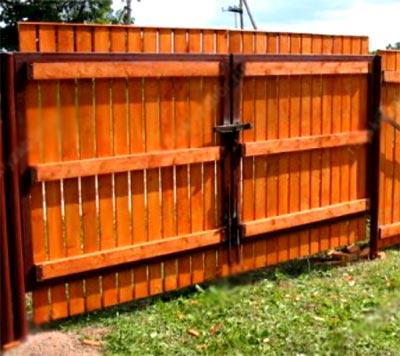 ворота деревянный штакетник