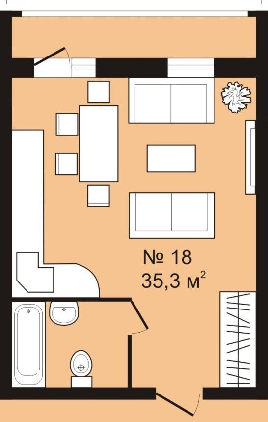 Студия 35 кв. м
