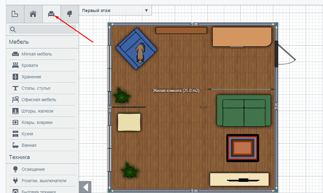 Декор комнаты в Planner 5D