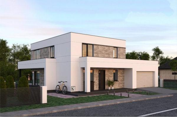 дом с верандой и гаражом