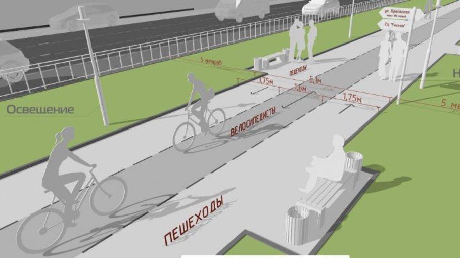 Велодорожка на тротуаре