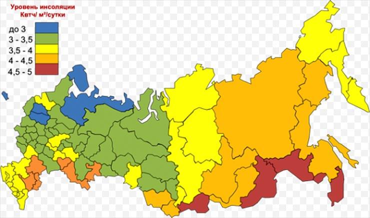 уровень инсоляции в различных регионов