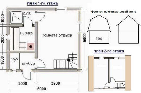 планировка помещения бани