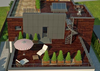 зона отдыха на крыше дома